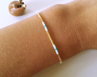 Pearl bracelet bracelet Friendship bracelet Mint Blue Gold