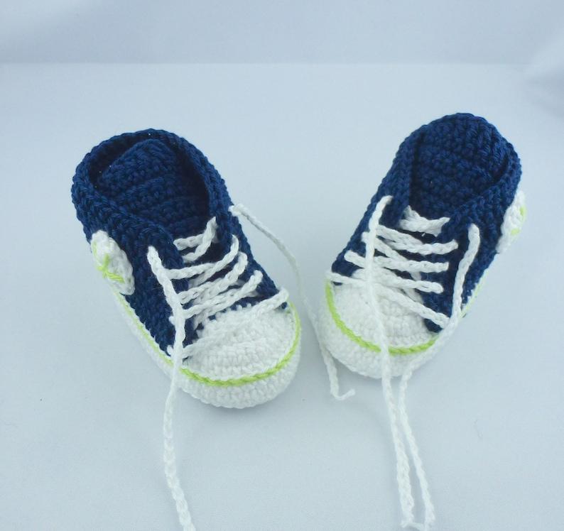 Baby sneakers  Dark blue light green 008 image 0