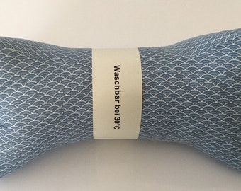 Reading bone/neck pillow/neck support light blue small waves (88)