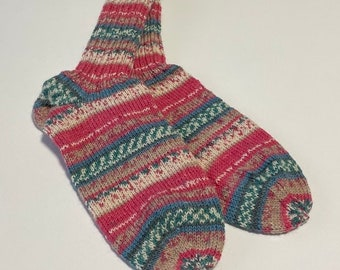 hand-knitted women's socks size 40 /41 (191) colorful