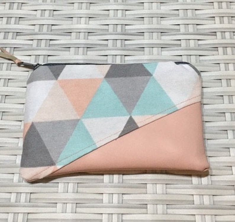Mini portemonnaie pink triangle with faux leather 133 image 0