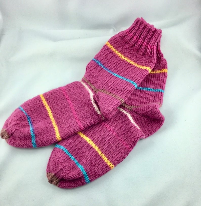 Children's socks dark pink with stripes 34/35 056 image 0