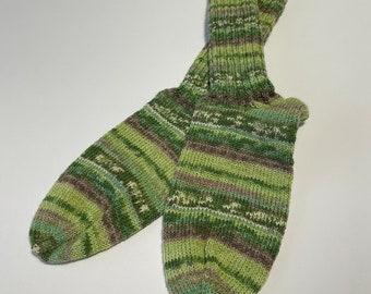 hand-knitted women's socks size 40 /41 (192) green