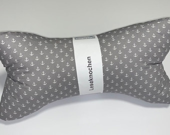 Reading bone/neck pillow grey with wise anchors (195)
