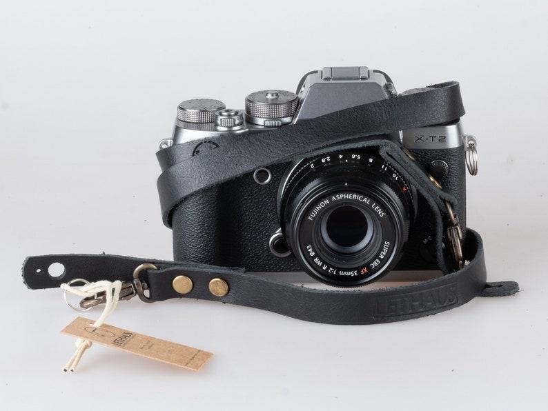 Black Lethaus Genuine Leather Camera Strap