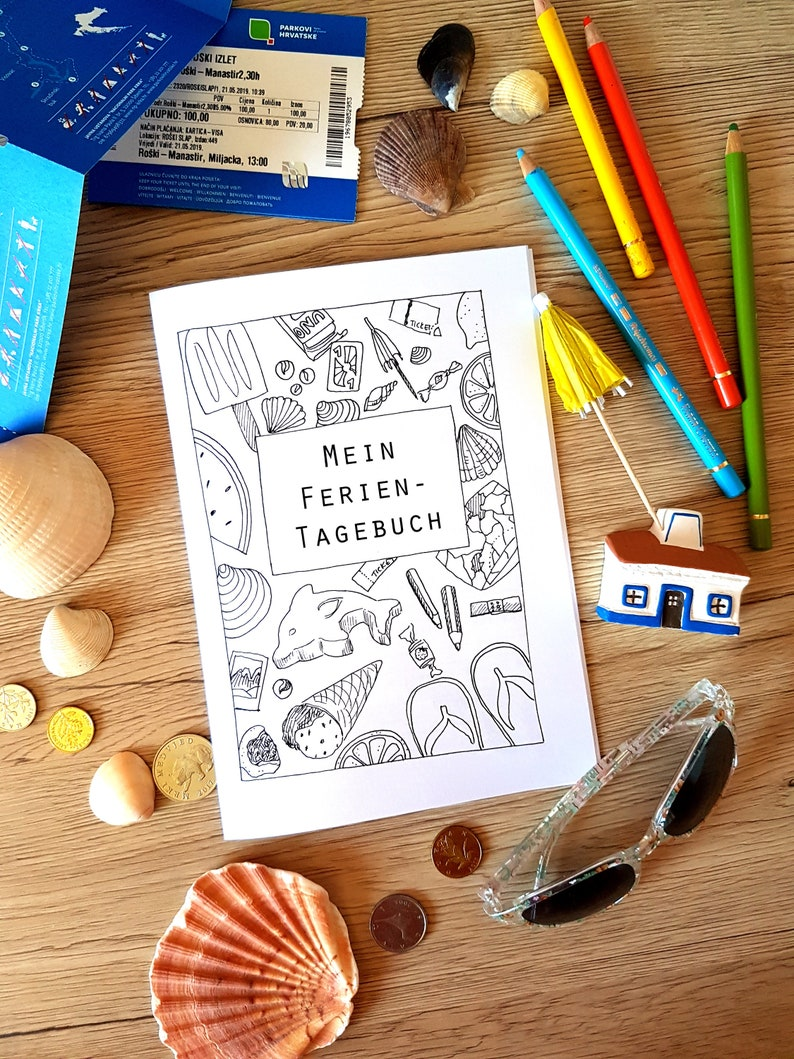 Ferientagebuch für Kinder  PDF  Sofort-Download  20 Seiten image 0