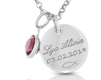 786b4745a2 Collana baptisum 925 argento nome catena incisione nome Birthstone  Battistero argento comunione conferma gioielli regalo collana ciondolo
