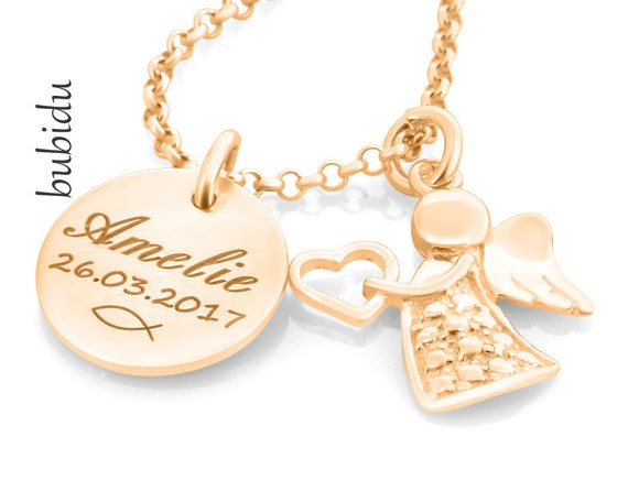molto carino cfe62 2e413 Rosa collana nome oro, gioielli di Angel, catena di battesimo