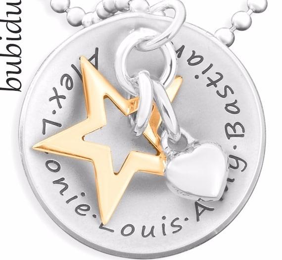 Namenskette f/ür Mama BLUME DES LEBENS 925 Silber Kette mit Gravur Familienkette Kindernamen