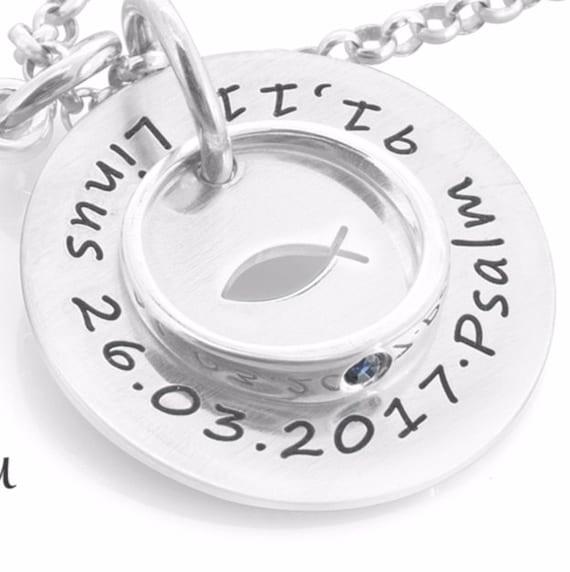 Barrenkette 925 Sterling Silber Lederkette Gravur Kreuz Taufschmuck Junge Spruch
