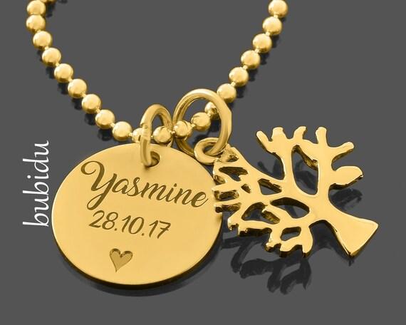 Medaillon Namen Gravur Taufkette Namensschmuck Kreuz vergolet 925 Silber
