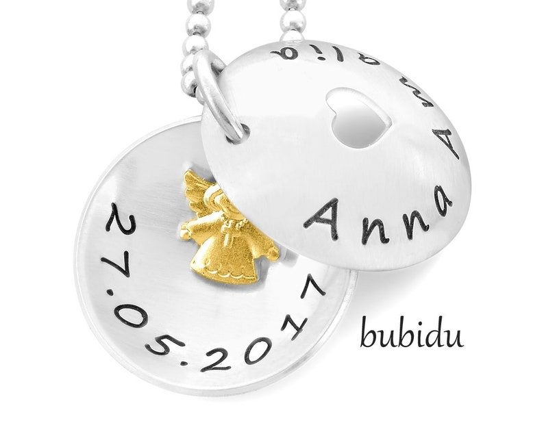 Baptisum Chain Engraving Medallion Baptism Angel Jewelry 925 Sterling  Silver Chain Engelchen Taufmedaillon Children's Chair Names Silver Jewelry  Girls