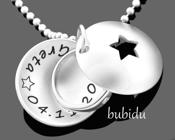 Kette Taufring Medaillon Schmuck Taufe Silber Baby Taufkette 925 Sterling Silber Stern Silberschmuck Taufgeschenke Taufringe Ring