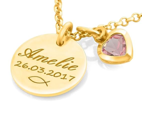 comprare on line 4452f a9332 Battesimo gioielli incisione - collana in oro Battesimo - catena di nome  ragazza battesimo - nome gioielli - catena oro placcato baby - nome bambino  ...