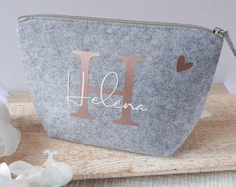 personalisierte Tasche aus Filz | Buchstabe und Namen | Kosmetiktasche mit Initialien