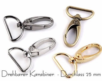 4 rotatable carabiners, width approx. 25 mm, old brass, silver, black, gold