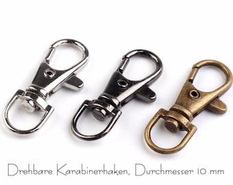 2 mini carabiner hooks, 10 mm, silver, black, old brass