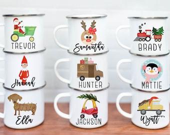 Personalized Kids Cup, Christmas Kids Cup, Hot Chocolate Mug, Custom Kids Cup, Stocking Stuffer, Birthday Party favors, campfire mug