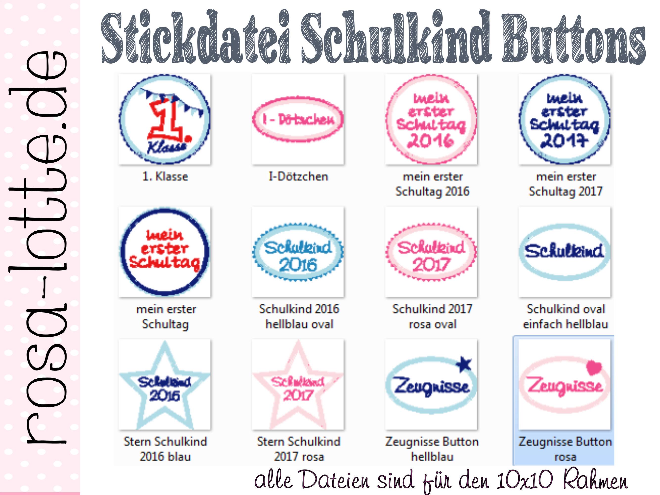 Stickdatei Schulkind Button SET 3 | Etsy