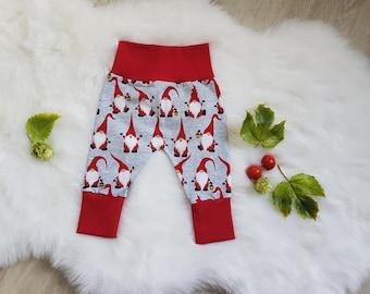 Pumphose Babyhose, Weihnachten, Wichtel,  Babykleidung , auch als Babyset mit Halstuch und Mütze, Rot, Grau