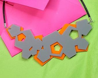 Orange Pentagons Necklace, Geometric Statement Necklace, Bib Plastic Necklace, Laser Cut Necklace, Geometric Necklace, Pentagon Necklace