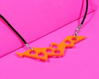 Orange Statement Necklace, Geometric Statement Necklace,Acrylic Statement Necklace, Halloween Jewelry, Industrial Bib Necklace