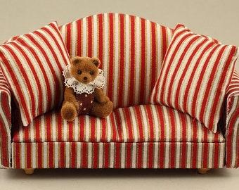 Puppen & Zubehör Babypuppen & Zubehör Antike Puppenstubenmöbel Chaiselongue mit Kissen Holz große Puppenmöbel