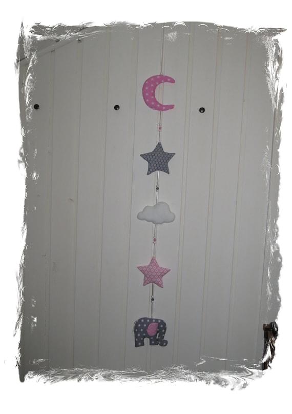 Kinderzimmer Girlande Aus Stoff In Rosa Grau Weiß Etsy