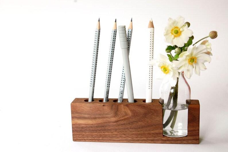 Pen holder with flower vase image 1