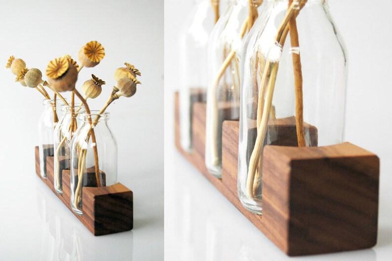 Milk jug made of nut vase flower vase wood image 0