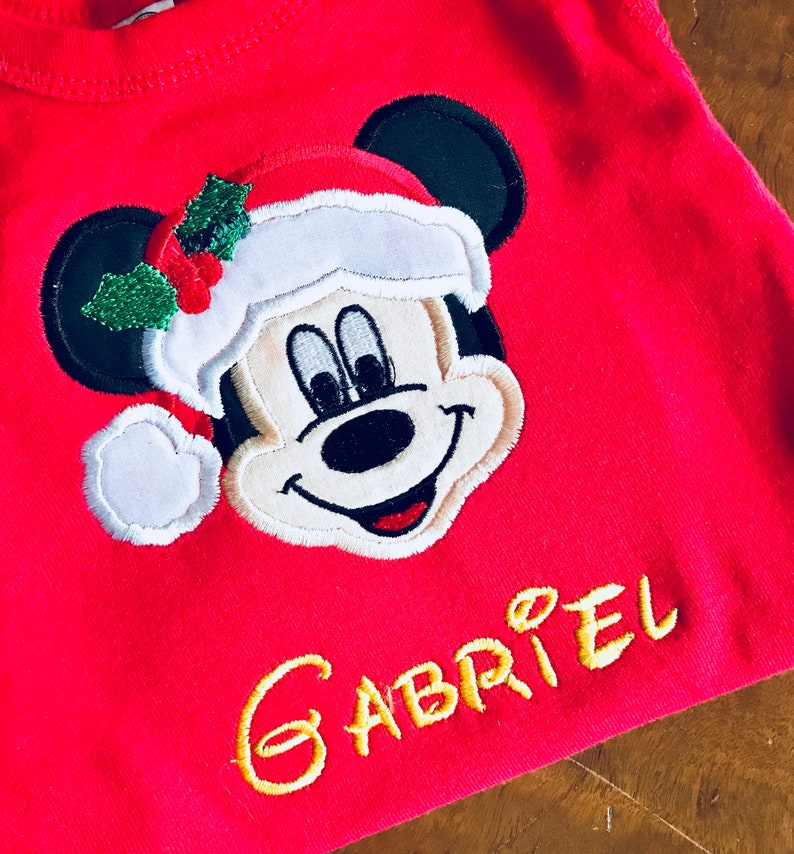 d572db73cd93b Disney Christmas Minnie or Mickey Mouse Santa Hat Applique