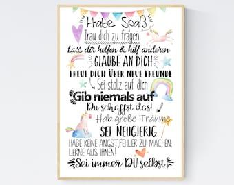 Back to School Gift School Enrollment Wishes Encouragement Poster Children's Room Print Unicorn