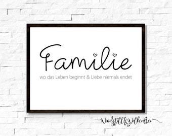 Poster Family Home Where Life Begins - Gift Move In Moving Invitation Image Entrance Hallway Handlettering Saying Saying Poster