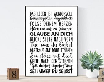 Geschenk Konfirmation Kommunion Firmung Mutmacher Wünsche - Sprücheposter Teeniezimmer Jugendzimmer Studentenbude- Träume