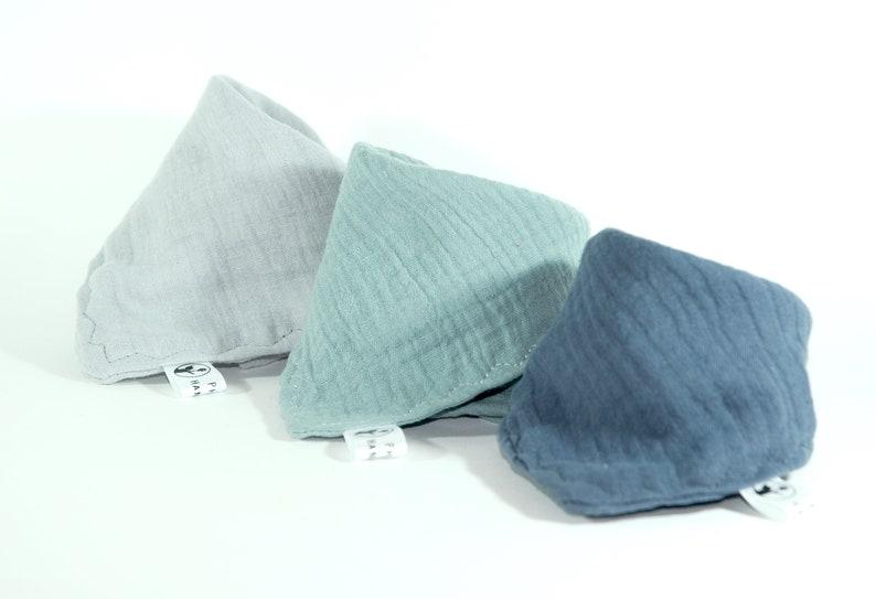 3 muslin triangular scarves /neck cloth /spitting cloth muslin image 0