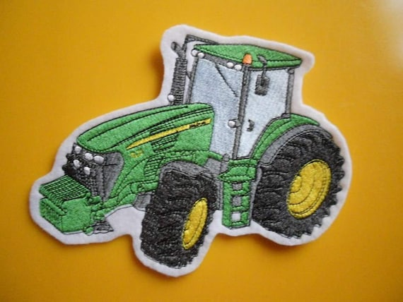 Green Fully Embroidered Iron On Applique Patch Farm Tractor