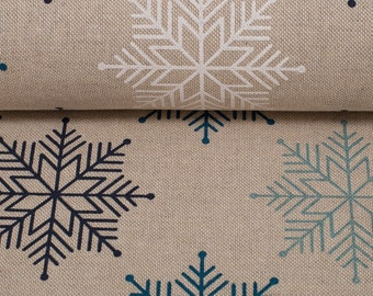 Furnishing Fabric Emil Snowflakes Beige Petrol Black
