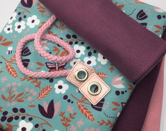 """Hoodie fabric package French Terry MEADOW """"All in one"""", mint-bordeaux-old pink, incl. accessories / 2 x 0.75 m Sweat & Jersey and cuffs"""