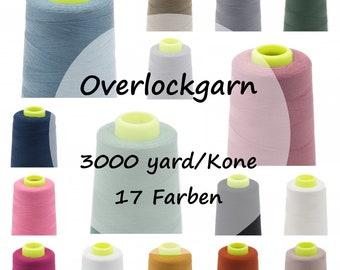 Overlock yarn / 2 cones / 3000 yard/kone / 17 colors