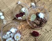 Christmas decoration - Christmas tree decorative balls - plain and dried flowers
