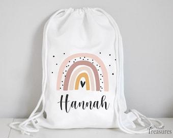Fabric bag gym bag backpack, nursery bag with name personalized rainbow pink