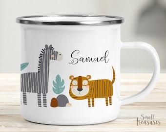 Cup children's cup enamel plastic ceramic mug personalized, Scandinavian jungle