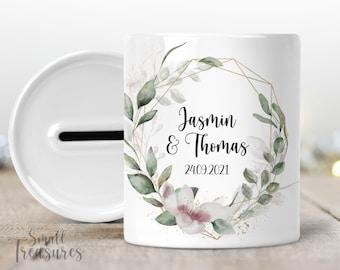 Money box for the wedding, money gift wedding gift with name bridal couple gift idea