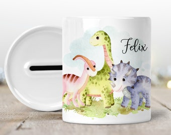 Money box with name, personalizes dinosaurs dinosaurs