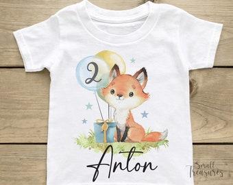 Birthday shirt personalized, birthday boys fox T-shirt TShirt