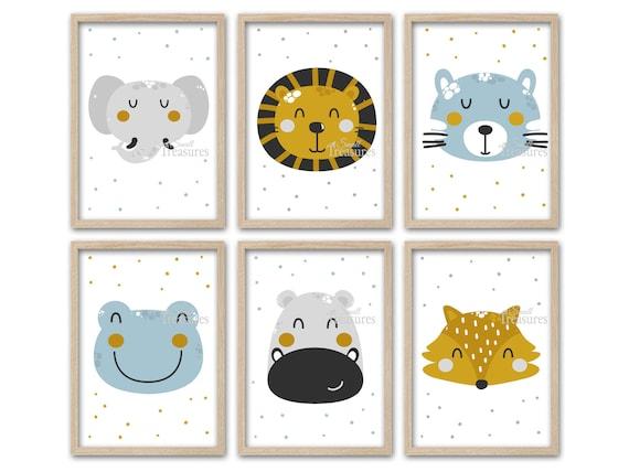Kinderzimmer Bilder Print Kinderzimmerdeko Set Tiere Skandinavisch