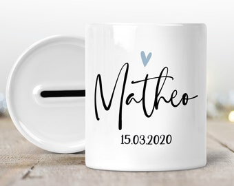 Money box with name personalized for birth Heart blue