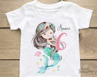Birthday Shirt Personalized, Birthday Girl Mermaid T-Shirt TShirt