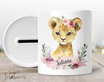 Money box with name, personalized lion lion girl