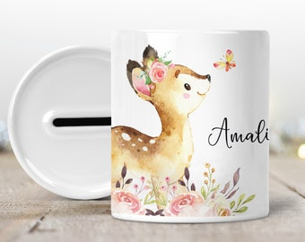 Money box with name, personalized deer flowers